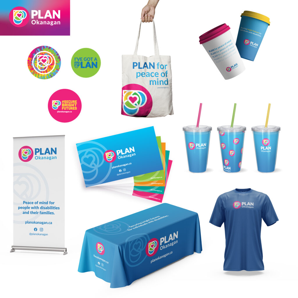 PLAN Okanagan design assets featuring mockups of buttons and stickers, shirt, table cloth, banner, tote, coffee cups, reusable cups with straws, and presentation deck