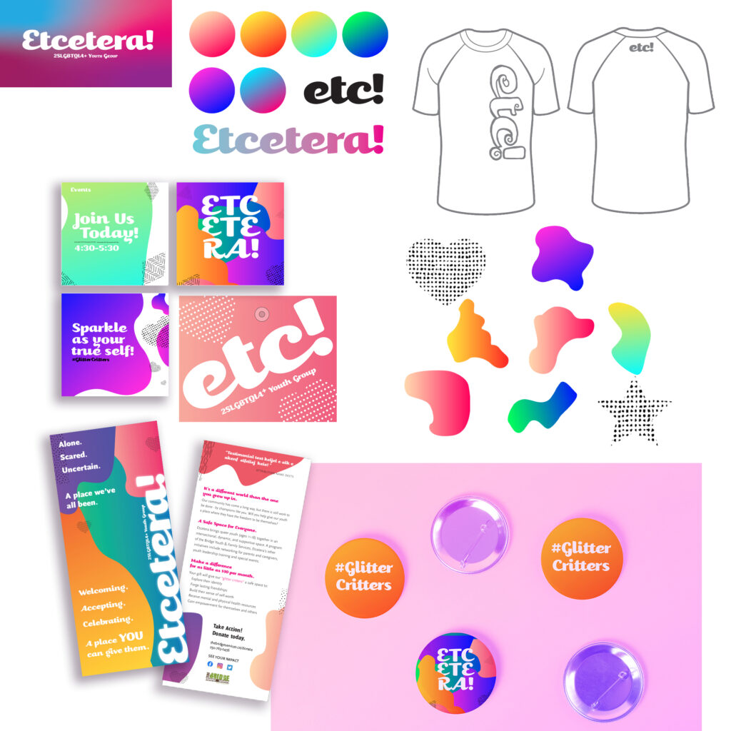 Etcetera design assets featuring gradient colour schemes and shapes of the design system, rack card, buttons, shirt, and social media posts examples.